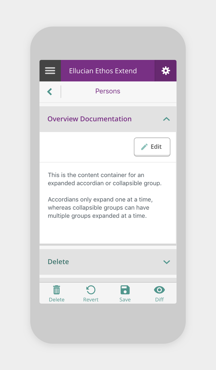 Data model editor app mobile screens