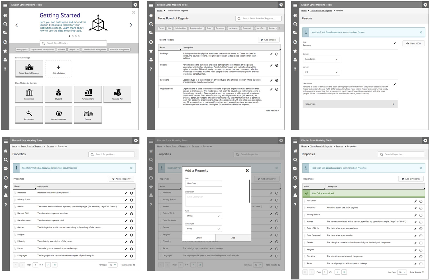 Data model wireframes for desktop