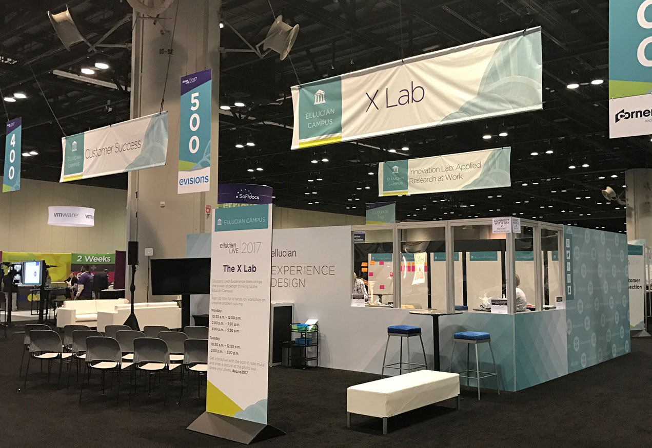 X Lab design thinking booth on the exhibition floor