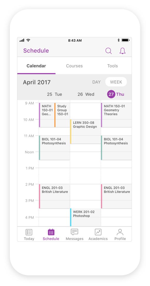 Mobile schedule designs